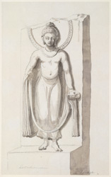 Standing Buddha figure, in abhaya mudra. Inscribed: Latchman at Teumye. 22 January 1790